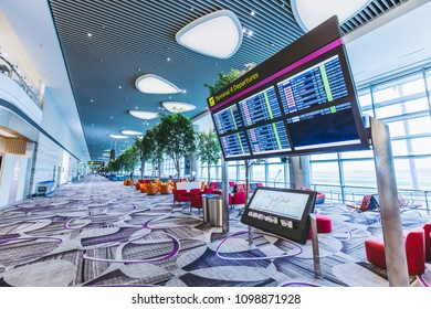 Changi, Singapore - May 18,2018: Changi Airport in Singapore.It is the primary civilian airport for Singapore, and one of the largest transportation hubs in Southeast Asia.