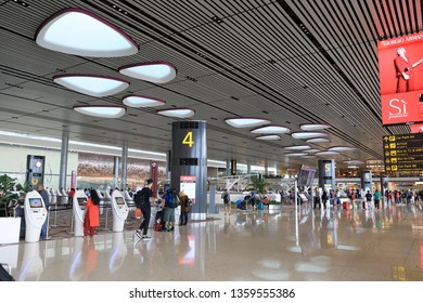 CHANGI, SINGAPORE - MAY 2018 : Departure hall in Terminal 4 in Changi Airport, The new terminal which is the most use of high technology.