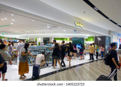 Changi, Singapore - May 6, 2019 : Exterior facade view of a Pokemon toy outlet at Jewel Changi