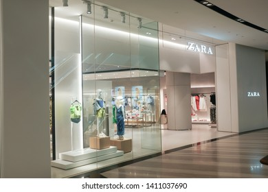 Changi, Singapore - May 6, 2019 : Exterior shop facade view of a Zara fashion outlet at Jewel Changi