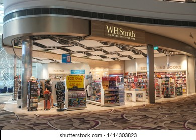 Changi, Singapore - May 6, 2019 : External shop facade of a WHSmith book and magazine outlet at Changi Airport Terminal 4