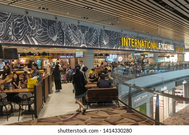 Changi, Singapore - May 6, 2019 : View of the International Food Court selling various food dishes from around the world at Changi Airport Terminal 4