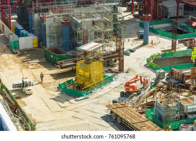 CHANGI, SINGAPORE - NOVEMBER 23, 2017 : View of Construction site of a new airport terminal at Changi Airport, Singapore
