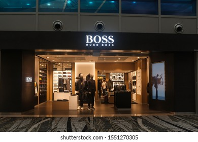 Changi, Singapore - October 17, 2019 : External shop facade of a Hugo Boss fashion outlet at Changi Terminal 2