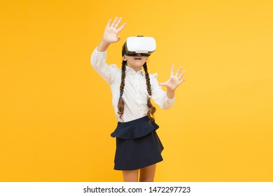 Changing digital experiences way we learn and create. Digital virtual future and innovation. Little child in VR headset. Virtual education. Insights into immersive virtual reality in real classrooms.