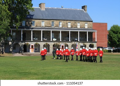 The Changing of the Guard Ceremony at Officer's Square  where period guards re-enact a drill ceremony