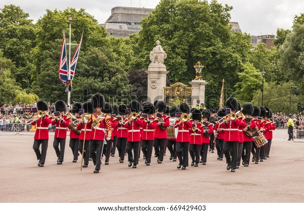 Changing Guards Buckingham Palace London Ukroyal Stock Photo