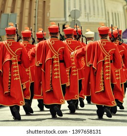 The Changing of the Guards Ceremony , weekend attraction at St Mark's Square, Old Town in Zagreb, Croatia.
