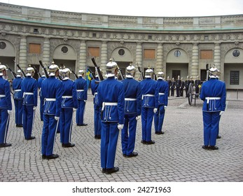 Changing of the guards in front of the palace in Stockholm, Sweden