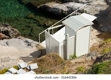 Changing room on the shore of Aegean Sea, Turkey