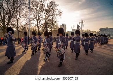 Changing of the Royal Guards at Buckingham Palace, London, United Kingdom on Dec 27, 2016