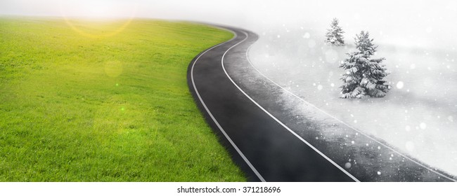 Changing season with road