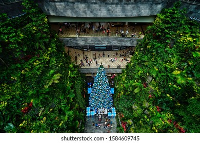 Changi,Singapore-November 30th,2019:Ariel view of the christmas tree in Jewel Changi airport.This is one of the tourist spot in Singapore