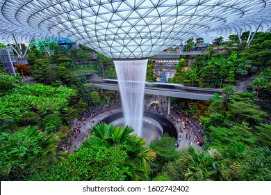 Changi,Singapore-November 30th,2019:Top view of the HSBC Water vortex in Jewel Changi Airport.This is one of the tourist spot in Singapore.