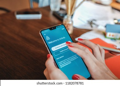 CHANGMAI, Thailand -Sep 09, 2018: Female hand holding smartphone with Airbnb application. Airbnb is an online marketplace and hospitality service, enabling people to lease or rent short-term lodging