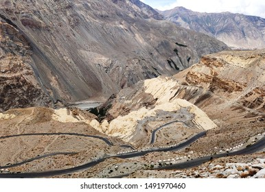 Chango a village in Lahaul Spiti in Himachal Pradesh .Beautiful road are seen in hill area