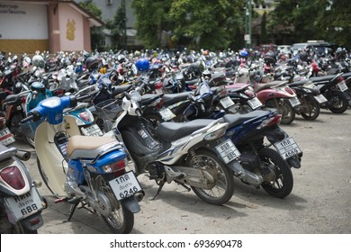 Changrai, Thailand - 2017 AUGUST 04 - Lot of motorcycle parking in Changrai province, Thailand.