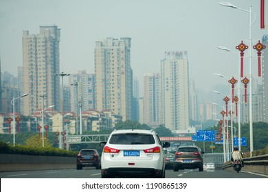 Changsha. China. 12 September 2018. Cars on the ring road of Changsha