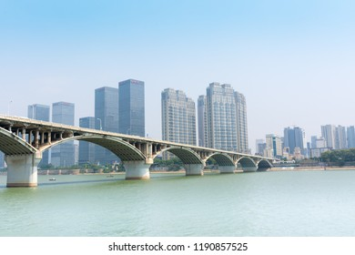 Changsha. China. 15 September 2018. View of the skyscrapers of the downtown of Changsha and the bridge over the Xiangjiang river
