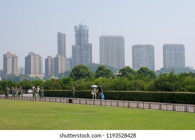 Changsha. China. 15 September 2018. View of high-rise buildings from orange island
