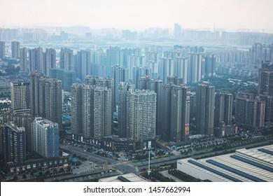 Changsha city, China -May 5' 2016 :  High angle view of the buildings of Changsha, China