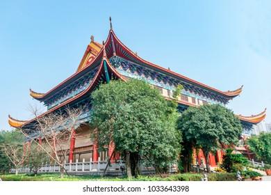 Changsha, Hunan ancient Kaifu Temple - Buddha Hall, Drum Tower, ancient ginkgo