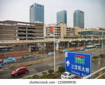 Changsha/China - 13 October 2018: changsha west bus station in foggy day.Changsha city china travel