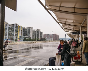 Changsha/China - 13 October 2018:Unacquainted chinese people and tourists com to transit in changsha west bus station.Changsha city china travel