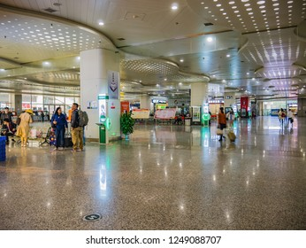 Changsha/China - 13 October 2018:Unacquainted chinese people and tourists com to transit in changsha west bus station Hall.Changsha city china travel