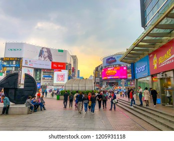 Changsha/China - Oct 17,2018: People are shopping around Huangxing road, famous shopping area in Changsha