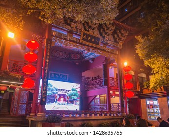 Changsha/China-17 October 2018:Oriental building in Huogongdian Food garden in Changsha city China.changsha is the capital and most populous city of Hunan province in china