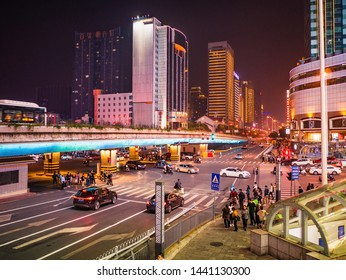 Changsha/China-17 October 2018:Unacquainted People Crossing intersection Road and Traffic in Changsha city China.changsha is the capital and most populous city of Hunan province in china