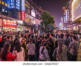 Changsha/China-17 October 2018:Unacquainted street performers singing at huangxing walking street in Changsha city China.changsha is the capital and most populous city of Hunan province in china
