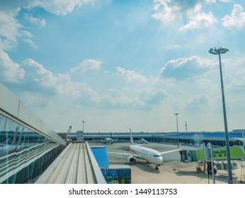 Changsha/China-18 October 2018:Beautiful view with airplane at Changsha internation airport hunan China.changsha is the capital and most populous city of Hunan