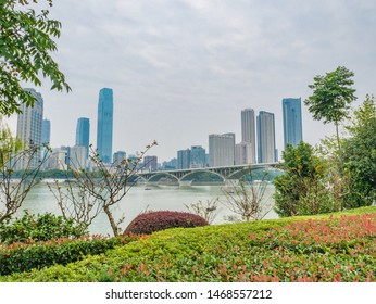 Changsha/China-18 October 2018:Changsha cityscape view from Orange Island Park Changsha city hunan China.changsha is the capital and most populous city of Hunan