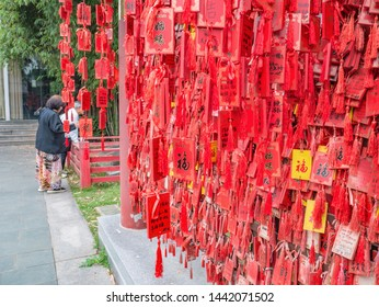Changsha/China-18 October 2018:Red ribbon in the temple on Orange Island Park Changsha city hunan China.changsha is the capital and most populous city of Hunan