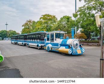 Changsha/China-18 October 2018:Train runing around the island on Orange Island Park Changsha city hunan China.changsha is the capital and most populous city of Hunan