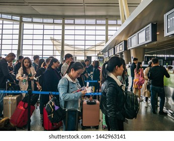 Changsha/China-18 October 2018:Unacquainted Chinese people of tourist in changsha internation airport hunan China.changsha is the capital and most populous city of Hunan
