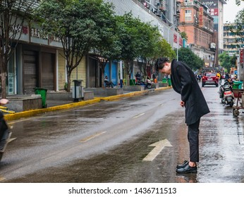 Changsha/China-18 October 2018:Unacquainted People or tourist walking on Street in the morning at Changsha city hunan China.Taiping old street one of landmark in changsha city