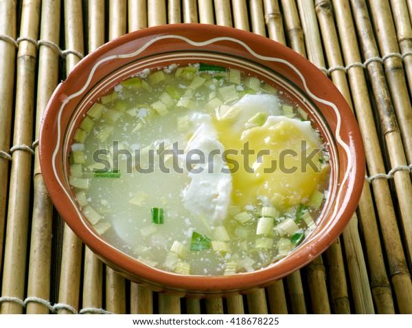 Changua con Huevo Colombiana.Poached Egg Soup.Colombian cuisine