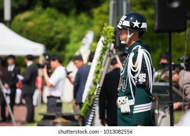 CHANGWON, KOREA - JUNE 06, 2013: Korean army uniform, soldier and security with memorial day event