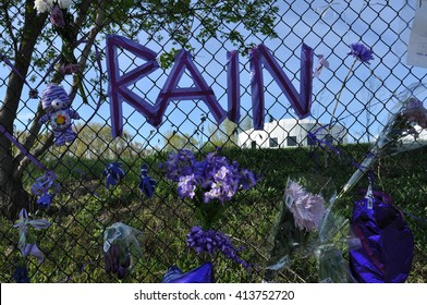 Chanhassen - May 1:  A memorial to Prince as seen on May 1, 2016 at Paisley Park, in Chanhassen, Minnesota.