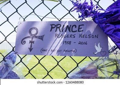 "CHANHASSEN, MINNESOTA USA - MAY 04, 2016: Prince Rogers Nelson 1958-2016 ""Gone but not forgotten"" ""Love Symbol"" poster at Paisley Park Studios."