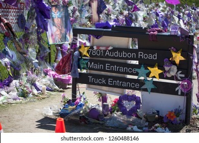CHANHASSEN, MINNESOTA USA - MAY 04, 2016: Directional sign for Prince's Paisley Park at 7801 Audubon Road.