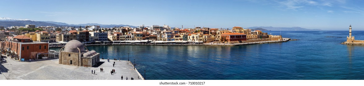 Chania city old port Crete Greece Panorama