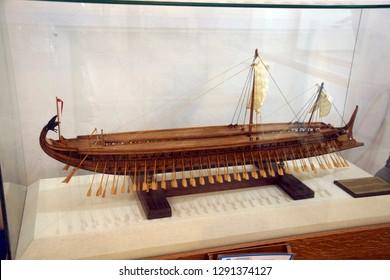 CHANIA, CRETE - DEC 3, 2018 - Model of Greek trireme in the naval museum of Chania, Crete, Greece