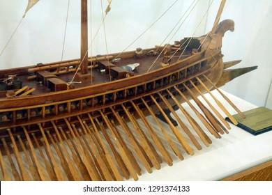 CHANIA, CRETE - DEC 3, 2018 - Model of Roman trireme in the naval museum of Chania, Crete, Greece