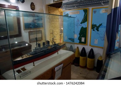 CHANIA, CRETE - DEC 3, 2018 - Ship models and naval maps  in the naval museum of Chania, Crete, Greece