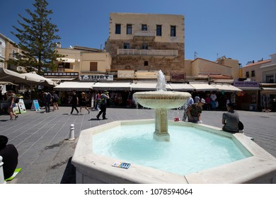 Chania Crete/ Greece - April 27th 2018: View of the fountain and some buildings at Chania city