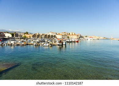 CHANIA, CRETE, GREECE - MAY 31, 2018. View of the Venetian port of Chania with the ancient venetian shipyards and center of mediterranean architecture
